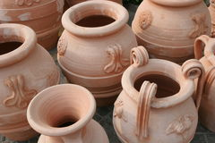 Vases. Ancient vases, seen in Historic Olympia, Greece Stock Photography