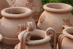 Vases. Ancient vases, seen in Historic Olympia, Greece Stock Photos