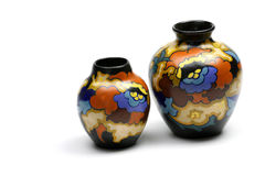 Vases. Brightly colored vases with a jugendstil decoration (Art nouveau) from the beginning of the 20th century Stock Photo