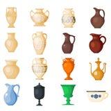 Vases amphoriques au grec ancien de vecteur d'amphore et symboles de l'ensemble d'antiquité et d'illustration de la Grèce d'isole illustration stock