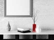 Vases with the books near the picture, Royalty Free Stock Images