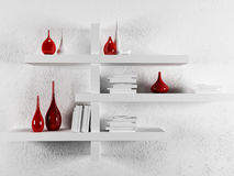 Vases and books on the shelf. 3d rendering Stock Photography