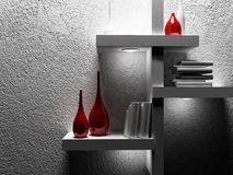 Vases and books on the shelf. 3d rendering Royalty Free Stock Images