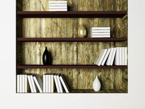 The vases and the books on the shelves Royalty Free Stock Images