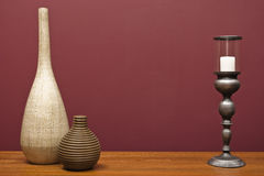 Vases and a candle holder Royalty Free Stock Photos