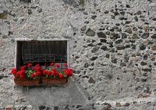 Vases de géraniums avec les fleurs rouges sur un balcon Photographie stock