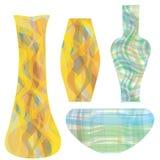 Vases en verre dans la conception colorée rayée Image libre de droits