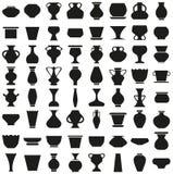 Vases et pots d'icônes sur le blanc Photos libres de droits