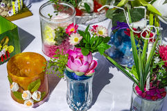 Vases with fake flowers Stock Images