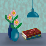 Vases with Flowers, Lamp and Books. Stock Photography