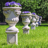 Vases with flowers in the park Royalty Free Stock Photo