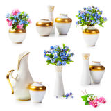Vases and forget me not flowers Royalty Free Stock Image