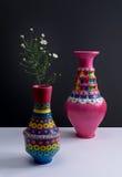 Vases handcrafted colorés à poterie et petites fleurs avec l'ombre dure Photos libres de droits