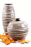 Vases and maple leaves Stock Image
