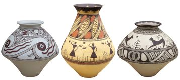 Vases with native american pattern vase isolated on white backgr Stock Photo