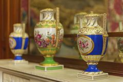 Vases at the palace exposition. At the exposition in the halls of Charlottenburg palace. Berlin, Germany Royalty Free Stock Image