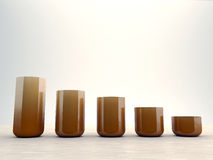 Vases on parquet. Orange vases with various sizes on parquet Royalty Free Stock Photography