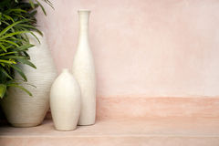 Vases on Pink Background Royalty Free Stock Images
