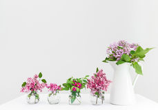Vases with pink and purple spring flowers. Beautiful floral arrangement Stock Photo