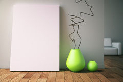 Vases and poster in room Stock Images