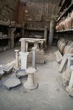 Vases and remants from pompei. Volcano eruption Stock Image
