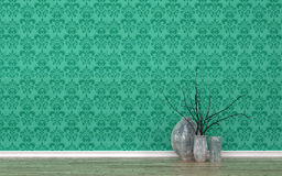 Vases in Room with Patterned Green Wall Paper Royalty Free Stock Photo