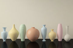 Colourful Ceramic Vases in a Row. Decorative ceramic vases in a row. 3D illustration Vector Illustration