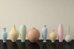 Colourful Ceramic Vases in a Row. Decorative ceramic vases in a row. 3D illustration vector illustration