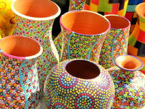 Vases for sale. Pottery for sale in the historic center of Bucharest Stock Photos