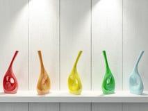 Vases on shelf. Stock Photos
