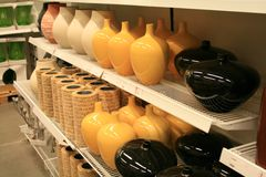 Vases on shop shelf Stock Image
