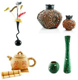 Vases and teapot isolated Stock Images
