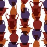 Vases traditionnels grecs colorés modèle sans couture, vecteur Images libres de droits