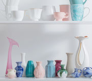 Vases on white shelf Royalty Free Stock Photography