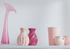 Vases on white shelf Stock Photography
