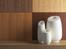 Vases on the wooden shelf. Royalty Free Stock Photography