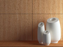 Vases on the wooden shelf. Stock Images