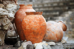 Vasi antichi dell'argilla Fotografia Stock