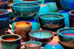 Vasi blu ed arancio Fotografia Stock Libera da Diritti