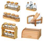 Vasi con il cucchiaio di legno ed il contenitore di legno di pane immagine stock