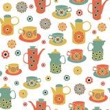Vasi d'annata dei tes di vettore, tazze di tè, fondo senza cuciture del modello illustrazione vettoriale