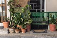 Vasi da fiori con le piante e la stuoia di porta davanti all'entrata della casa del villaggio fotografie stock