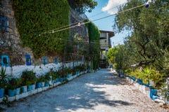 Vasi da fiori sulla via di Zacinto, Grecia Fotografie Stock Libere da Diritti