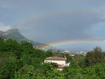 vasi del ` 2 di doppio ` d'oro dell'arcobaleno fotografie stock libere da diritti