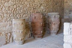 Vasi dell'argilla al palazzo di Knossos Fotografie Stock Libere da Diritti