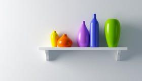 Vasi della ceramica sulla mensola Fotografia Stock Libera da Diritti