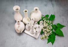 Vasi della porcellana con un ramo del lillà Immagine Stock Libera da Diritti