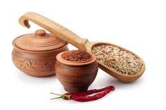 Vasi di argilla, cucchiaio di legno, zizzania e peperoncini Immagine Stock Libera da Diritti