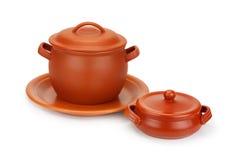 Vasi di argilla e piatto dell'argilla Fotografia Stock