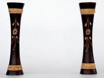 Vasi di legno, isolati Immagine Stock
